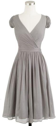 J.crew Mirabelle Dress in Silk Chiffon in Gray (graphite) - Lyst