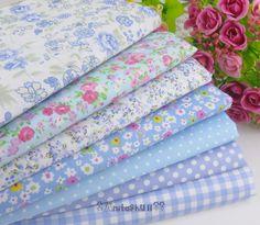 """7pcs blue (19""""x20"""") Different Kinds Quilt Quilting Fabric 100%cotton bundle"""