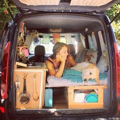 """She travels across Europe with her faithful pup in a """"house van"""" that she custom modified."""