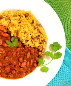 Vegan Puerto Rican Pink Beans & Yellow Rice with Homemade Sofrito (Habichuelas Rosadas Y Arroz con Gandules) for the Slow Cooker