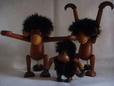 Vintage 3 Monkey Teak Wood Kay Bojesen Mid Century | eBay