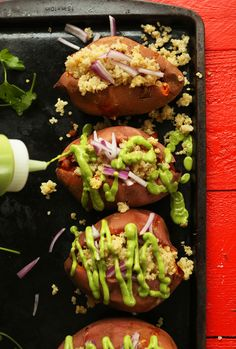 Quinoa Stuffed SWEET POTATOES! Healthy, tender, crunchy toppings, SO delicious