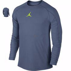 Nike Men Jordan AJ All Season fitted Long Sleeve Training DriFIT Shirt SZ L Blue #Nike #ShirtsTops