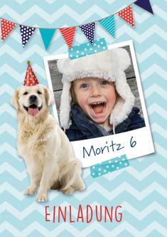 Witzige Einladungskarte zum Geburtstag mit Foto vom Geburtstagskind und süßem Golden Retriever (6. Geburtstag) Step Card, Crochet Hats, Teddy Bear, Golden Retriever, Toys, Animals, Products, 12th Birthday, Blue