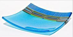 Peacock Platter: Helen Rudy: Art Glass Platter   Artful Home