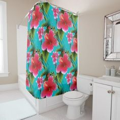 Pink Turquoise Hawaiian Hibiscus Flowers Pattern Shower Curtain - chic design idea diy elegant beautiful stylish modern exclusive trendy