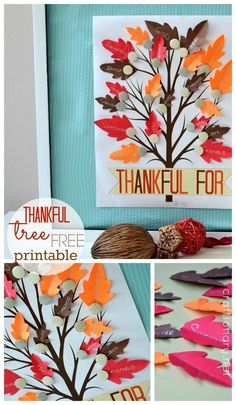 Thankful tree free printable at craftionary.net. An easy idea, just print - stick on bulletin board - pin thankful leaves and see your tree come to life.