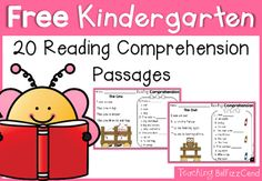 20 Free Kindergarten Reading Passages You may also be interested in: Reading Fluency and Comprehension (Set Reading Fluency and Comprehension (Set Reading Comprehension Passages : Beginning Readers Reading Comprehension Passages, Reading Fluency, Teaching Reading, Guided Reading, Word Reading, Early Reading, Teaching Tools, Kindergarten Reading Comprehension, Teaching Resources