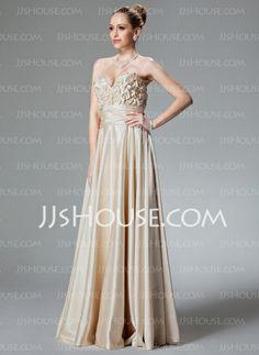 Vestidos de princesa / A Formato Coração Chá comprimento Charmeuse Vestido de festa com Pregueado Contas (017022514)
