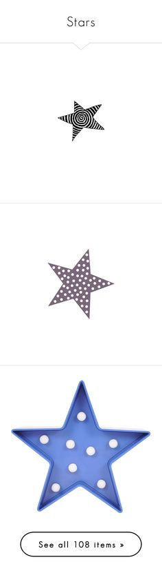 """""""Stars"""" by awsewell ❤ liked on Polyvore featuring star, backgrounds, black, black and white, home, lighting, star lamp, blue lamp, star string lights and star lights"""