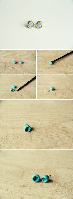 DIY Gold and Glass Earring Tutorial from Fall For DIY
