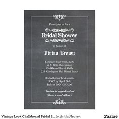 Vintage chalkboard bridal shower invitation chalkboard bridal vintage look chalkboard bridal shower card filmwisefo