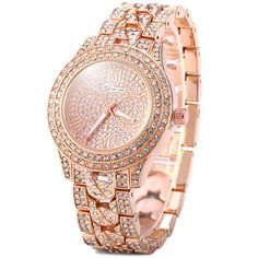 Geneva Female Diamond Quartz Watch Round Dial Stainless Steel Band-9.86 and Free Shipping| GearBest.com