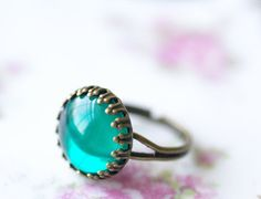 Emerald green jewel ring vintage glass cabochon brass crown setting adjustable glamour on Etsy, $13.00