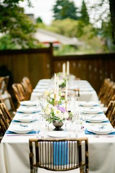 Jael and Gilbert's 50 guest backyard dinner party reception. Photography by Betty Elaine. See @intimateweddings.com #tablescape #tablesetting