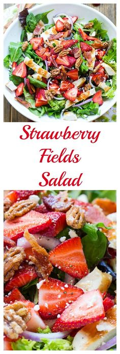 Strawberry Fields Salad with bacon, feta cheese, glazed pecans, and grilled…