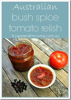Delicious tomato chutney recipe that's a little bit different from the usual recipes. It includes Australian bush spices: bush tomatoes and pepperberries. Wow your friends with this inexpensive gift, that's if you don't just keep it for yourself :). Aussie Food, Australian Food, Australian Recipes, Tomato Relish, Tomato Chutney, Pavlova, Relish Sauce, Native Foods, Chutney Recipes