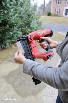 Use a brad nailer to install baseboards with 18 gauge brad nails - Thrift Diving Stairs And Staircase, Staircase Design, Spiral Staircases, How To Install Baseboards, Wood Baseboard, Narrow Hallway Decorating, Wood Repair, Finish Carpentry, Milwaukee Fuel