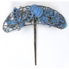 Chinese Hair Pin with Kingfisher Feather, Qing Dynasty