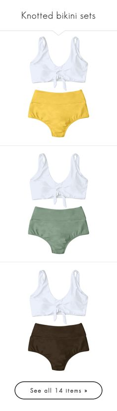 """Knotted bikini sets"" by zaful ❤ liked on Polyvore featuring swimwear, bikinis, high rise bikini, scrunch bikini, high rise swimwear, high rise bikini swimwear, yellow bikini swimwear, scrunch swimwear, high-waisted swimwear and high-waisted bikinis"