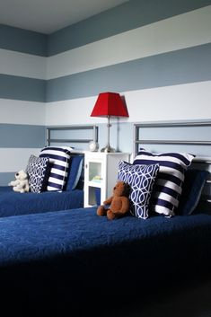 """Tips for painting stripes on textured wall.  IHeart Organizing: May Challenge: Project """"Projects"""" {Boy's Bedroom - Part 3}"""