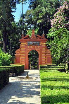 Los Jardines de los Reales Alcazares en Sevilla, España
