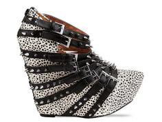 Outrageous and kind of awesome... haha.  Jeffrey Campbell Zip 2 Stud in Brick Red Nubuck at Solestruck.com.