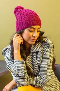 The Downtown Cabled Hat is perfect for anyone on the go. The lacy cables pop in a luxury wool, angora, and cashmere-blend yarn. #knittedhat Pattern designed by Emily Ringelman. Knit Hat For Men, Hats For Men, Baby Hat Patterns, Knitting Patterns, Ravelry, Knitting Projects, Knitted Hats, Pattern Design, Cashmere