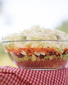 Dig-Deep Layered Summer Salad Recipe -- This layered salad has a different taste and texture all the way through. Dig deep to the bottom to get the best mix!