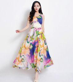 Silk Floral Print Aline Dress Bohemian Blue Yellow by ChineseHut, $189.00