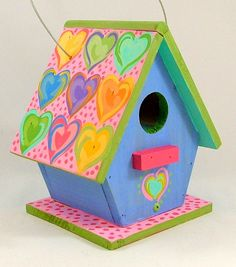 Handpainted Hearts indoor-Outdoor Birdhouse