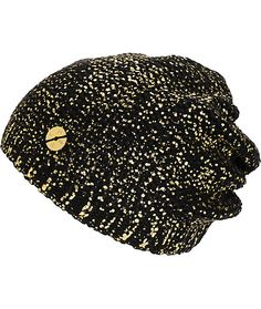 19921dd353b Add some luxe flavor to any outfit with beret inspired slouchy beanie  featuring gold flake detailing