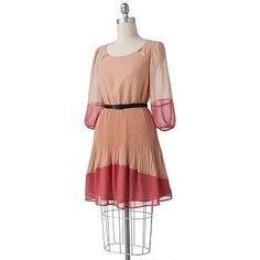 Lauren Conrad wearing Lc Lauren Conrad Colorblock Accordion-Pleat Dress.