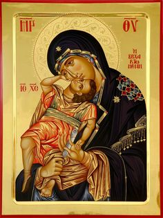 High quality hand-painted Orthodox icon of Panagia Axion Estin (halo relief). BlessedMart offers Religious icons in old Byzantine, Greek, Russian and Catholic style. Images Of Christ, Religious Images, Religious Icons, Religious Art, Byzantine Icons, Byzantine Art, I Icon, More Icon, Church Icon