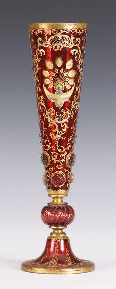 Cranberry Moser Vase