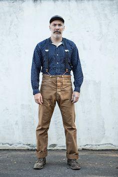 Banditphotography. Blue Blanket Krouse repro waist overalls.