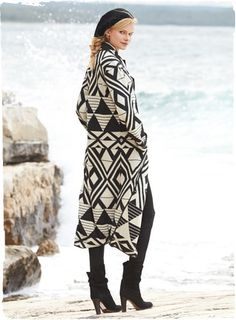 Gallery Alpaca Coat | Black and white and gorgeously graphic, the artsy, #double-faced #knit coat in baby alpaca and wool is patterned with African #geometrics.