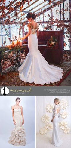Wedding Dress Silhouttes: Mermaid | SouthBound Bride | http://southboundbride.com/a-southbound-guide-to-wedding-dress-silhouettes | Credit: Mermaid Wedding Dress by Karina Make Clothing (top) | Beige Mermaid Wedding Dress by Alma Vidovic (bottom left) | Mermaid Wedding Dress by Faith Cauvain (bottom right)