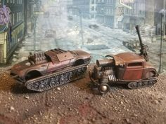 Guncat and rattrack, a tracked gunner and a rat rod half track. Vehicles for the Armed Automobile Apocalypse. Custom Hot Wheels, Hot Wheels Cars, Demolition Derby, Scrap Metal Art, All Cars, Mad Max, Post Apocalyptic, Fallout, Legos
