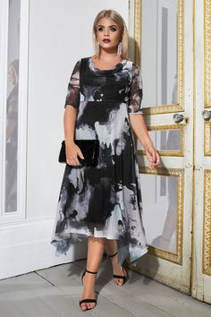 YOURS LONDON Black   Grey Marble Midi Dress With Cowl Neck bca4422c9