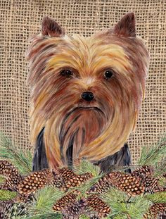 Yorkie Flag Canvas House Size