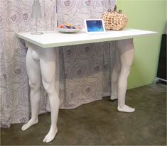 table made from recycled mannequin legs by Mannequin Madness.