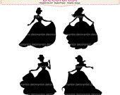 SALE Silhouette clip art, princess clip art Black princess, INSTANT DOWNLOAD