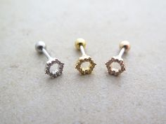 CZ Stud Piercing/Tragus Earring/Cartilage earring/Hexagon ear piercing/Tragus Piercing/CZ piercing/Labret bar optional/Helix Earring/ conch by MinimalBijoux on Etsy