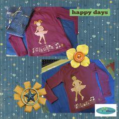 Camisetas personalizadas pintadas a mano de Lola y Claudia practicando baile moderno.