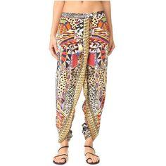 Camilla Beads of Love Harem Pants (476 AUD) ❤ liked on Polyvore featuring pants, elastic waist pants, print pants, silk harem pants, bohemian pants and wrap pants
