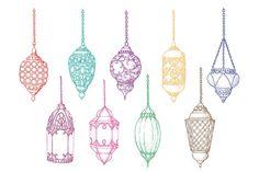 Set of colorful isolated sketch arabic lanterns. Ramadan Crafts, Ramadan Decorations, Bullet Journal Themes, Bullet Journal Inspiration, Lantern Drawing, Ramadan Lantern, Middle Eastern Art, Tattoo Flash Art, Islamic Art Calligraphy