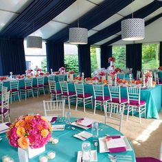 Love the colorful vibe of this reception decor