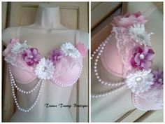 Rave / EDC / Festival / Go Go Bra. Girly. Pink / Purple Flowers. Pearls / Beading. Crafting. http://www.etsy.com/listing/155940326/clearance-romantic-rave-bra