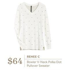 Ideas - Renee C Bowler V-Neck Polka Dot Pullover Sweater - Stitch Fix